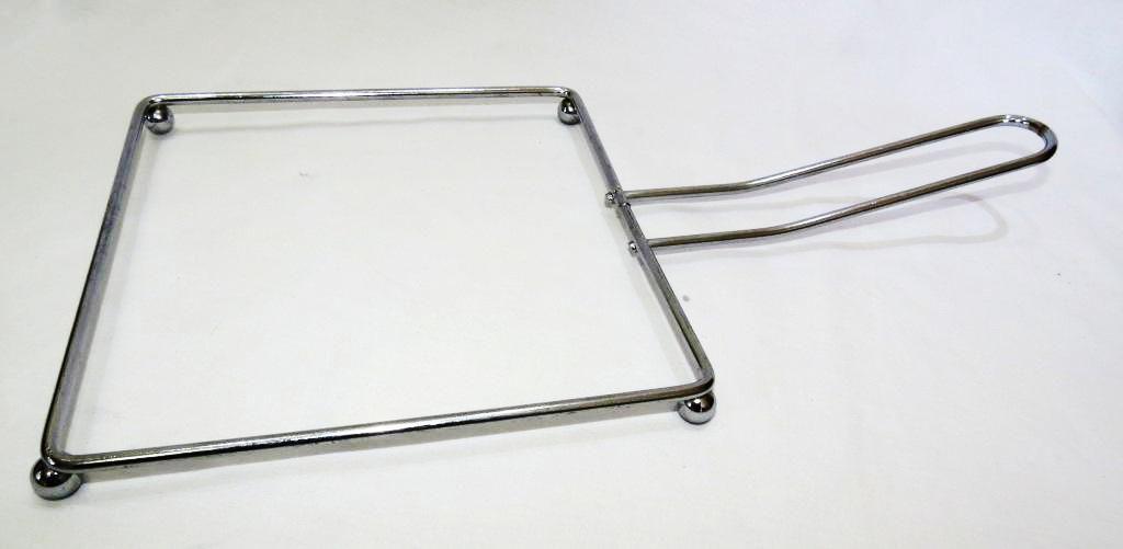 Suporte bIfeteira, suporte aço cromado, chapa com aparador quadrada 24cm LISA