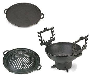 churrasqueira gengis khan, ferro fundido, 28 cm, fogareiro carvão, pedestal,