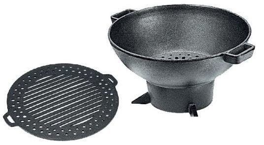 fogareiro ferro fundido, braseiro, lareira, gengis khan, grelha de ferro 32 cm, churrasqueira de ferro