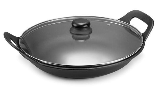 panela de ferro fundido para risoto com tampa de vidro, risotto, paelleira de ferro, frigideira e assadeira 2,5 litros