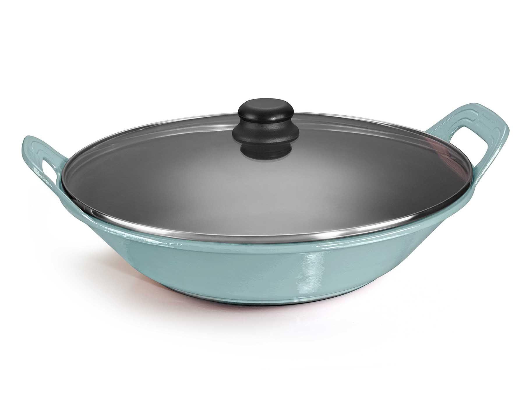panela de ferro fundido azul para risoto com tampa de vidro, risotto, 5 litros paelleira de ferro, frigideira e assadeira