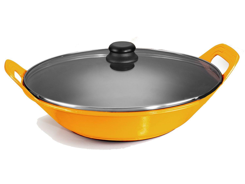 panela de ferro fundido amarela para risoto com tampa de vidro, risotto, paelleira de ferro, frigideira e assadeira 2,5 litros