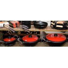 panela de moqueca de ferro fundido, moquequeira, panela de barro capixaba, 6 l, tampa esmaltada vermelha