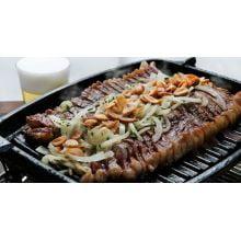 chapa ferro fundido grill, 33 cm, alça madeira, grelhado, bifeteira, bifeira