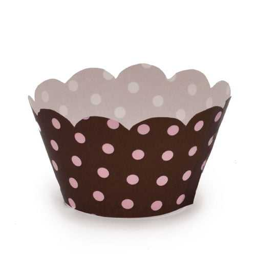 Wrappers Mini Cupcake Poa Marrom/ Rosa c/12 Cromus