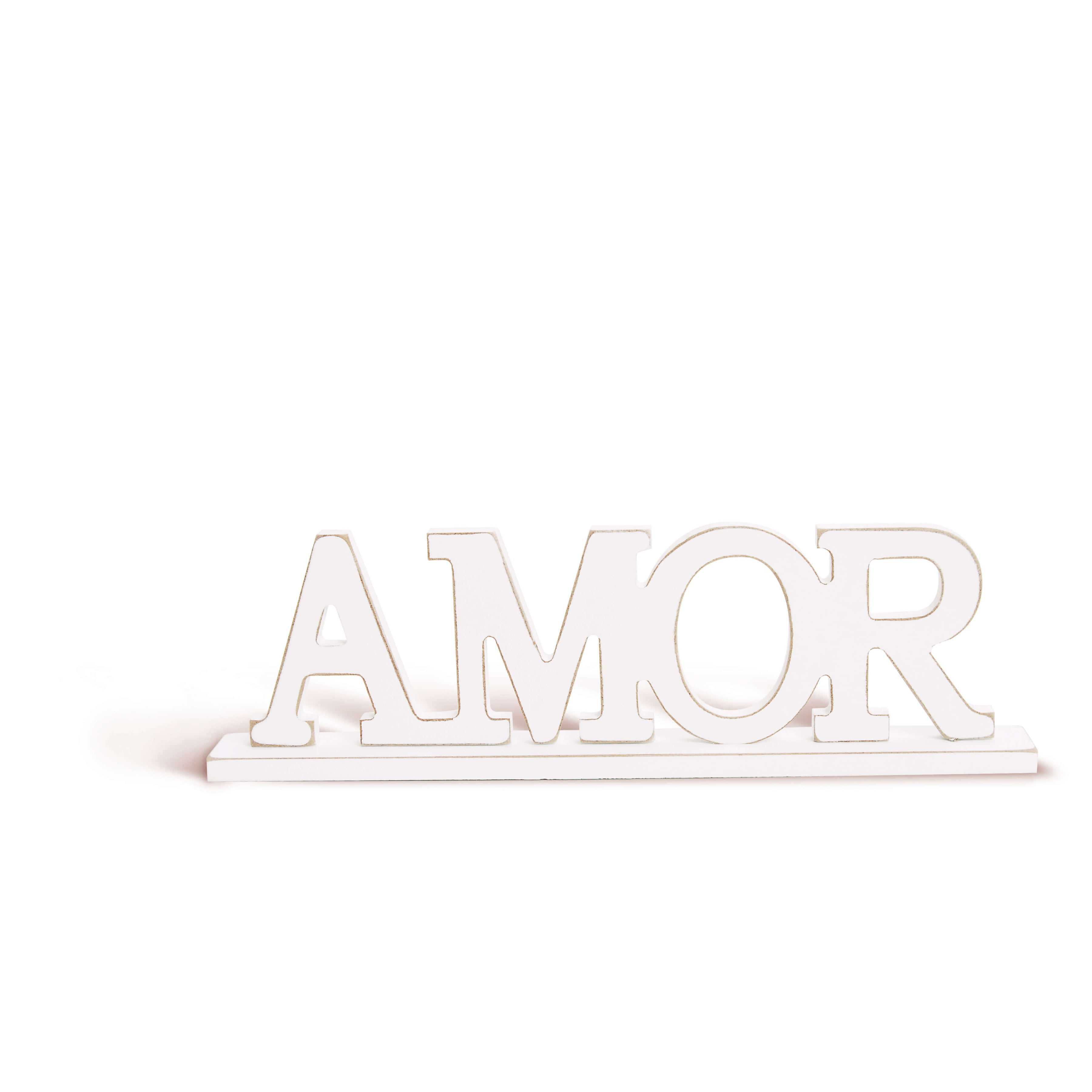 """Letras de Madeira  """"Amor"""" Coleção Casamento Romântico - Cromus"""