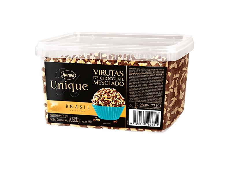Raspas de Chocolate Harald Unique ao Leite e Branco Virutas 1,05kg