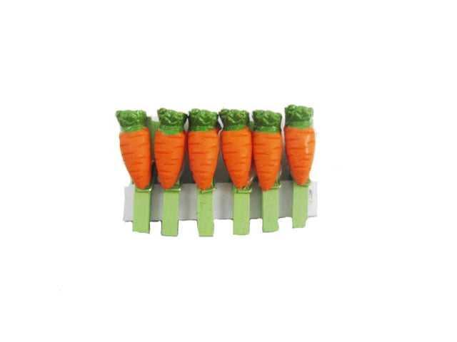 Pregador Madeira Mini Cenoura c/6 Cromus
