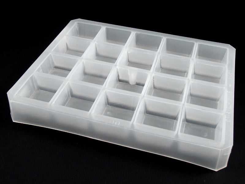 Forma Plástica Branca para Chocolate Quadrado A061 Cristal Formas