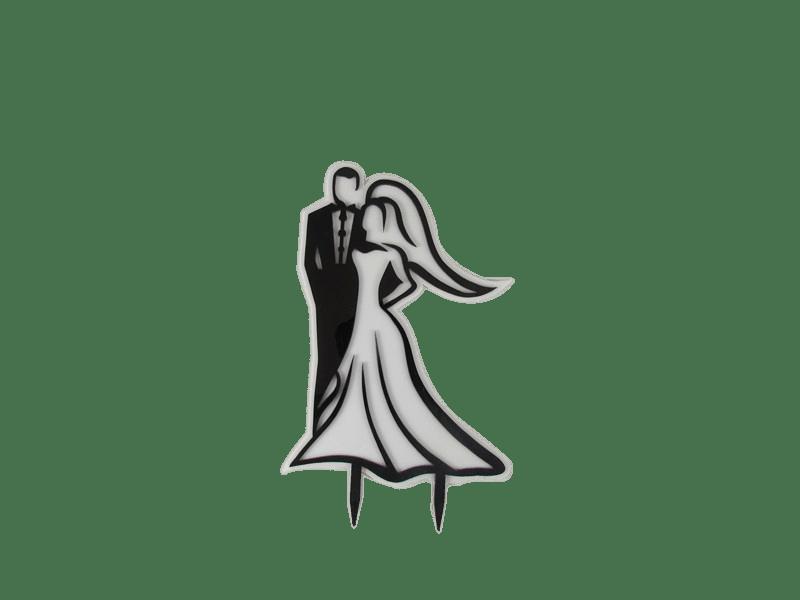 Topo de Bolo Casal de Noivos Lado a Lado – Decora Doces