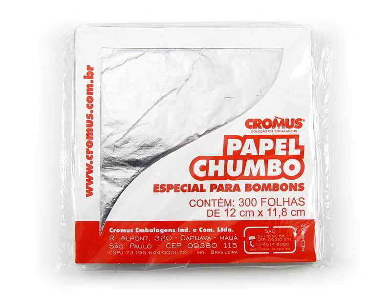 Papel Chumbo Prata 12x11,8 cm c/ 300 Folhas Cromus