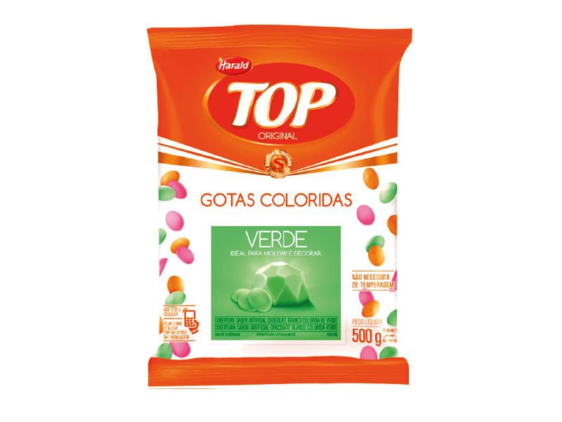 Cobertura Colorida de Chocolate Branco Verde Harald Top Gotas 500g