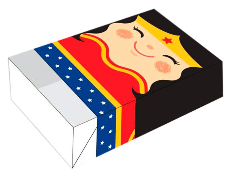 Caixa para 6 Doces 12x8x3,5 cm - Mulher Maravilha