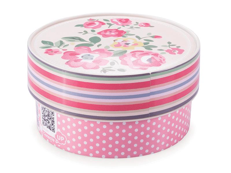Caixa de Plástico Redonda 420ml - Poá com Rosas - Plasútil