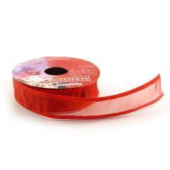 Fita de Organza Aramada Vermelha - Cromus