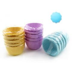 Forminha de Papel Impermeável para Cupcake Azul Claro c/75 Flopel