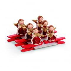 Pregador Enfeite de Natal Anjo com Instrumento c/6 Cromus