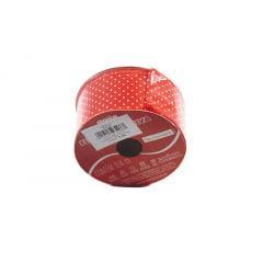 Fita de Organza Vermelha com Poá Branco 3,8cm - Cromus