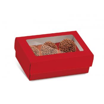 Caixa para 6 Doces c/ Forminhas - Vermelha - Cromus