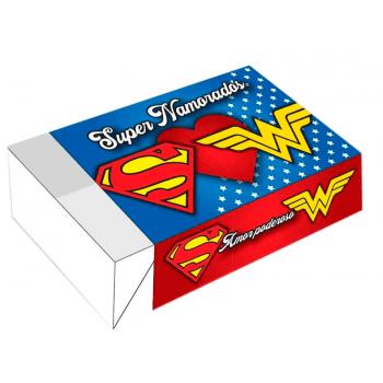 Caixa para 6 Doces 12x8x3,5 cm - Super Namorados