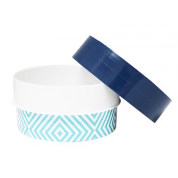 Caixa de Plástico Redonda 420ml - Mosaico Azul - Plasútil
