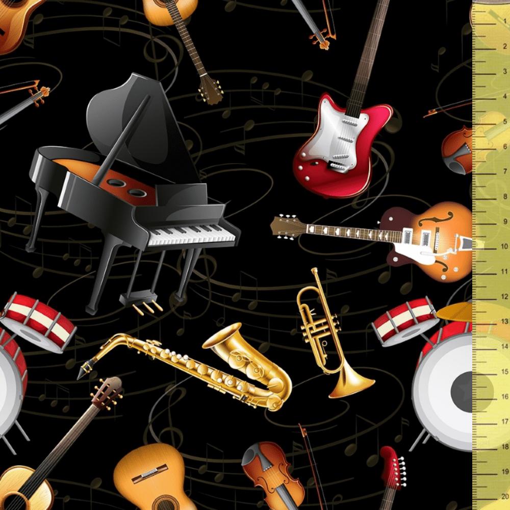 Tricoline Digital Musical P9020-22 • Tecido Tricoline Estampado