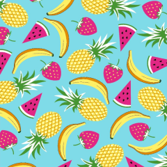 Tecido Tricoline Frutas DX6359-5 - Abacaxi, Banana, Melancia e Morango