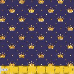 Tricoline Mini Coroas Azul Com Dourado P1143-06