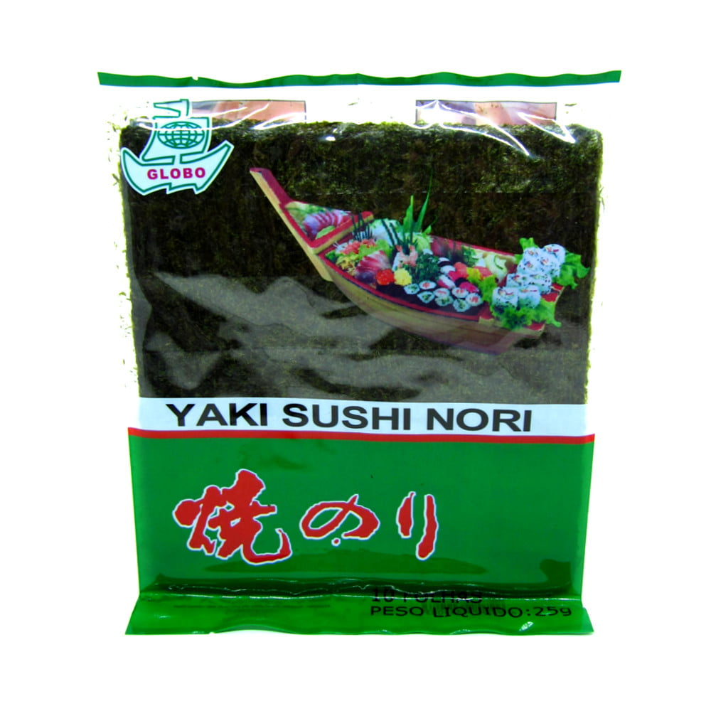 Alga Marinha Nori para Sushi e Temakis C/10 Folhas Yaki Sushi Nori Globo - 25 gramas