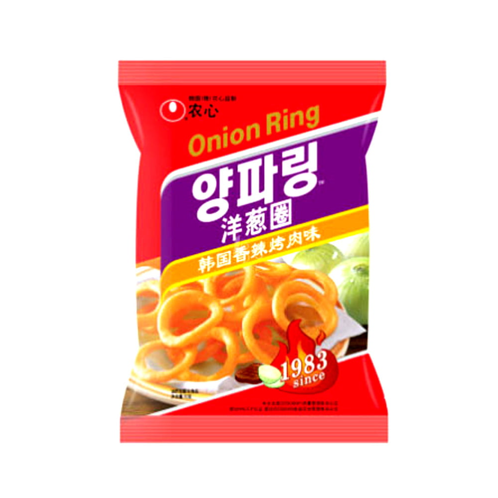 Salgadinho Importado Coreano Sabor Cebola Apimentado Onion Flavored Rings Cebola Hot & Spicy- 40 gramas