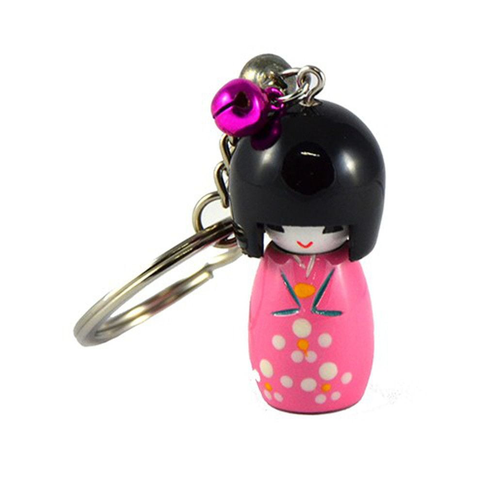 Chaveiro da boneca Japonesa Kokeshi - Rosa