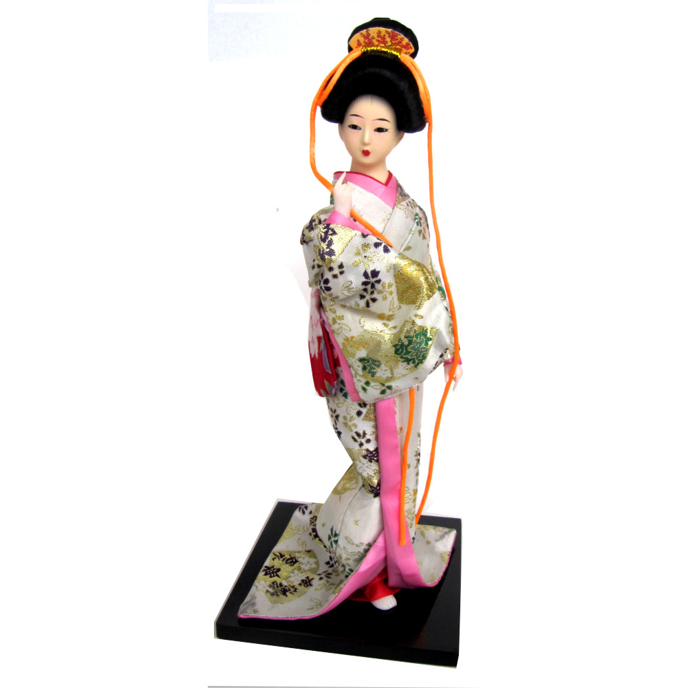 Boneca Japonesa Gueixa Artesanal com Kimono Branco Floral e Corda