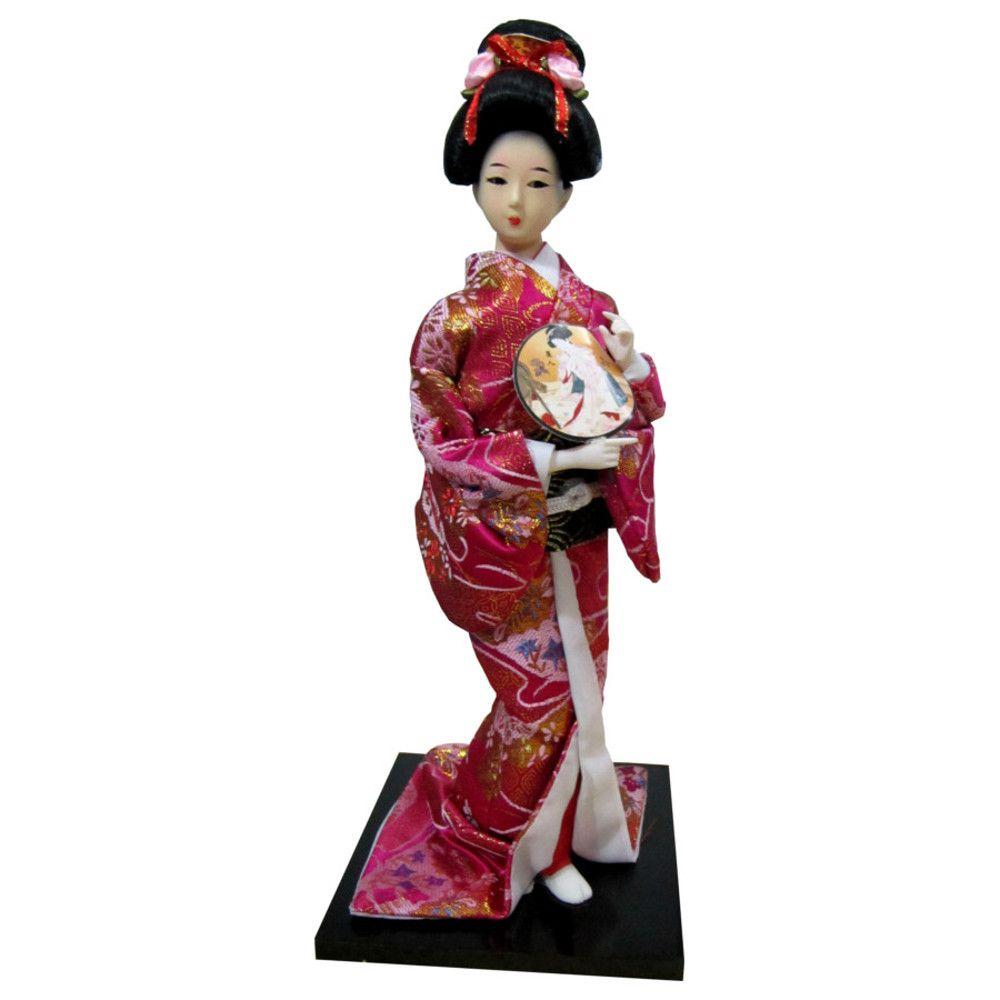 Boneca Japonesa Gueixa Artesanal com Kimono Pink e Leque