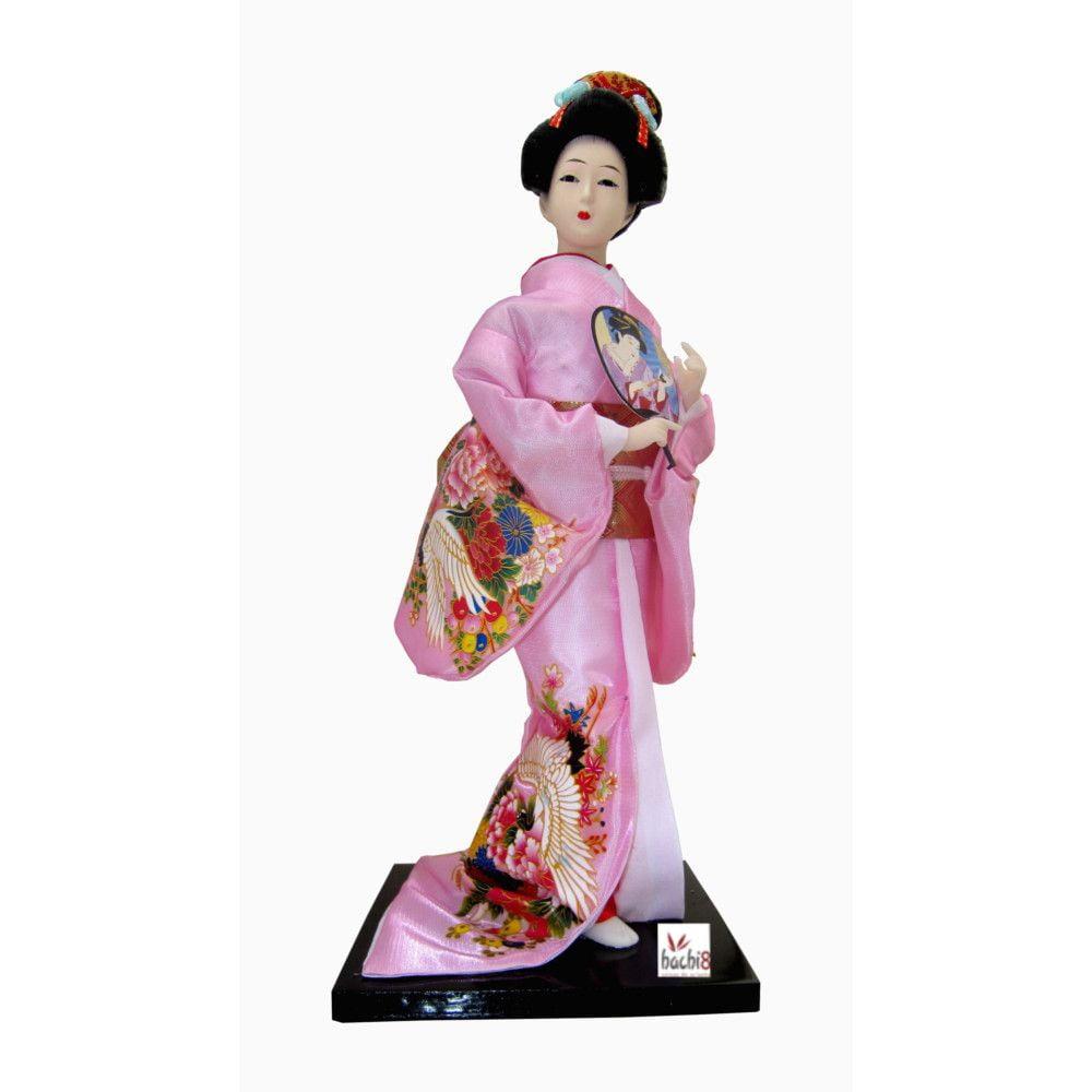 Boneca Japonesa Gueixa Artesanal com Kimono Rosa e Leque Arredondado