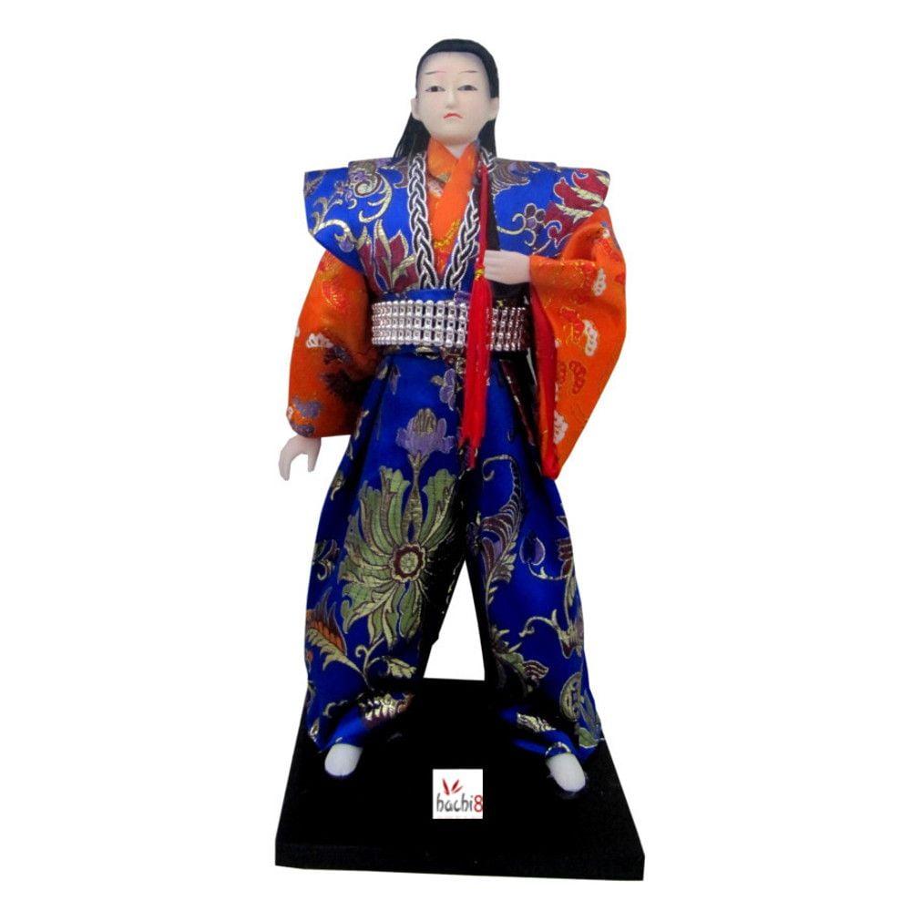 Boneco Japonês Samurai com Com Kimono Laranja e Azul com detalhes Florais - 30 cm