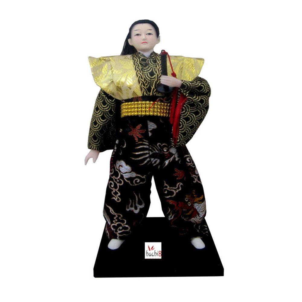 Boneco Japonês Samurai com Kimono Preto e Dourado com detalhes Dagrão - 30 cm