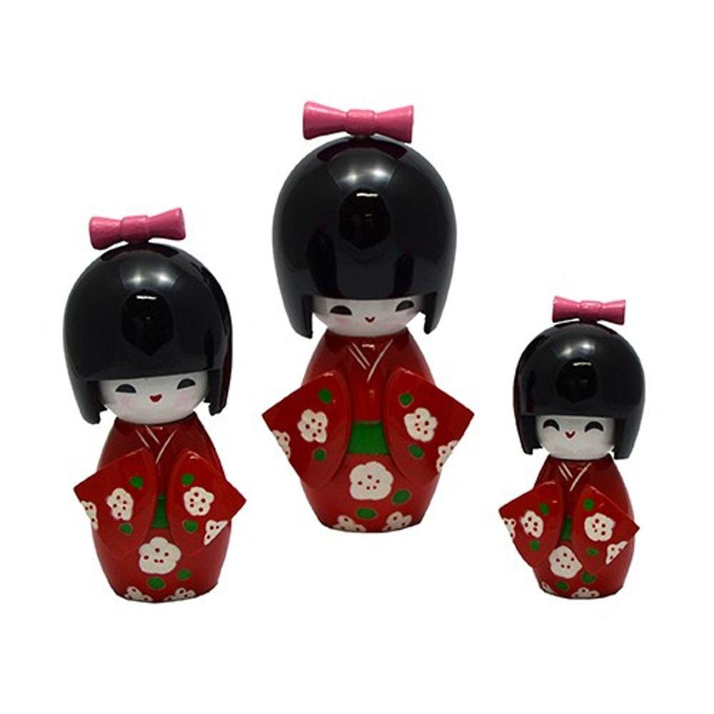 Trio Boneca Japonesa Kokeshi  Vermelha- TKVS