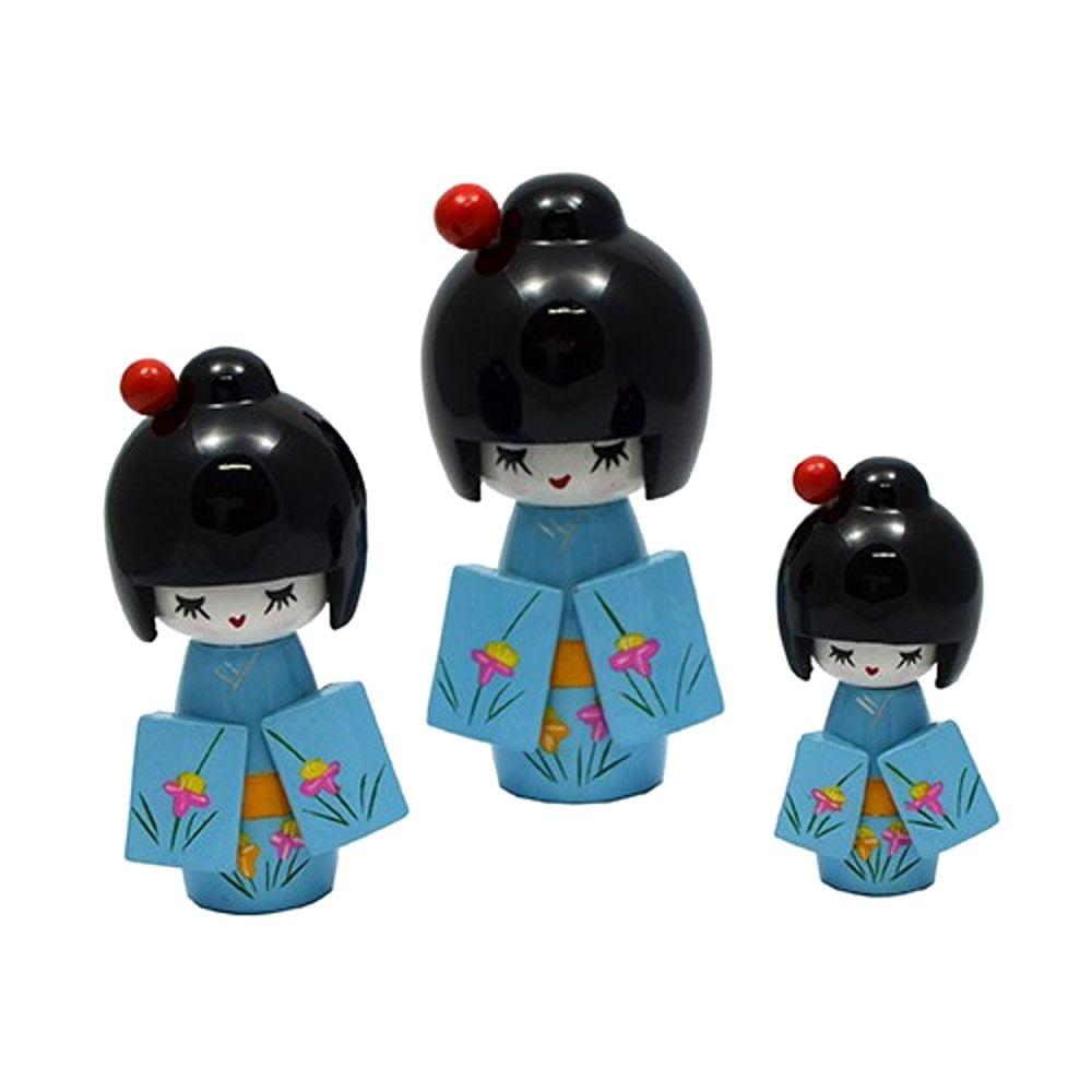 Trio de Boneca Japonesa Kokeshi Azul - Detalhes Florais