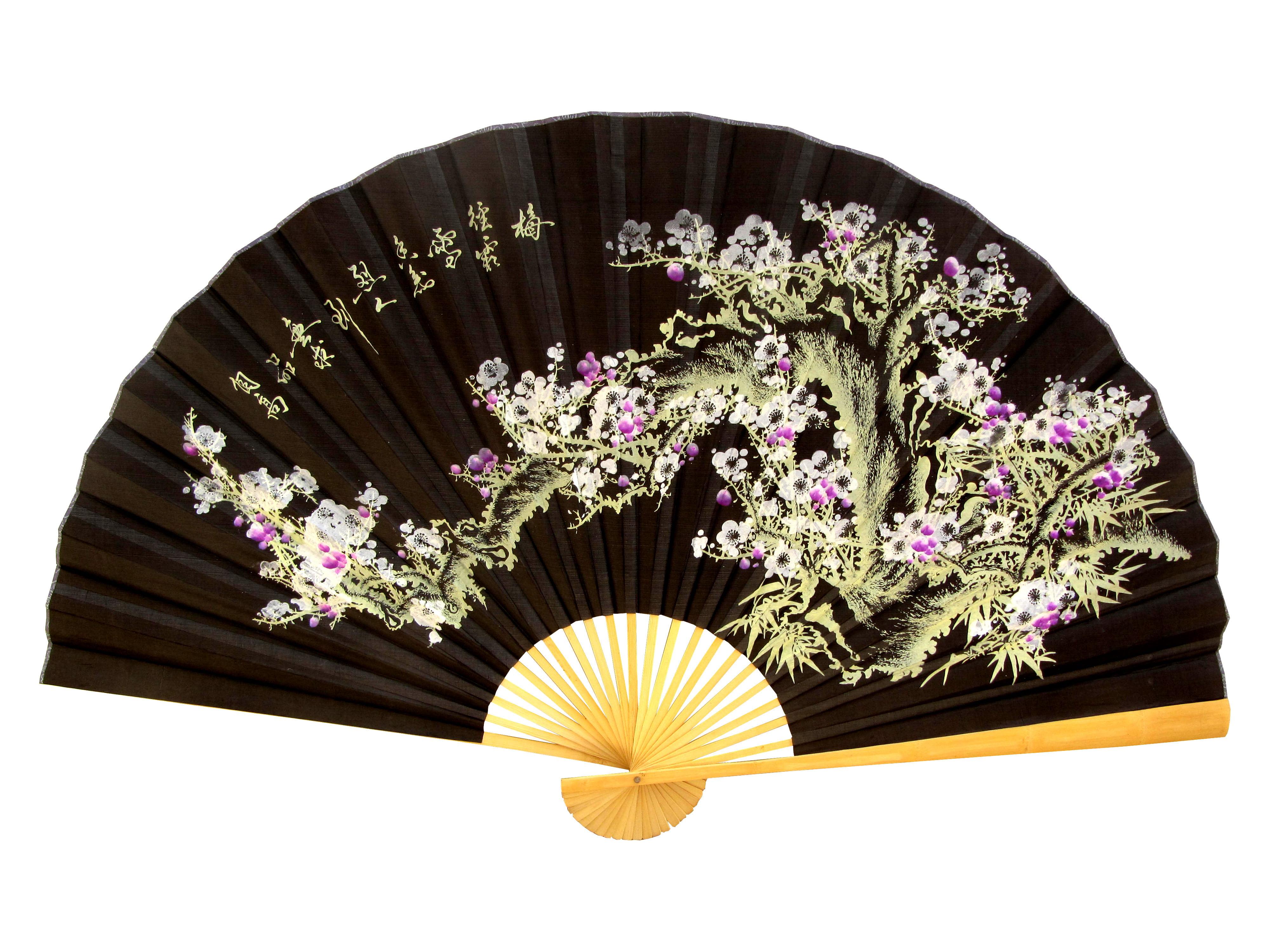 Leque Decorativo Oriental Sakura 4 Preto 160m Hachi8