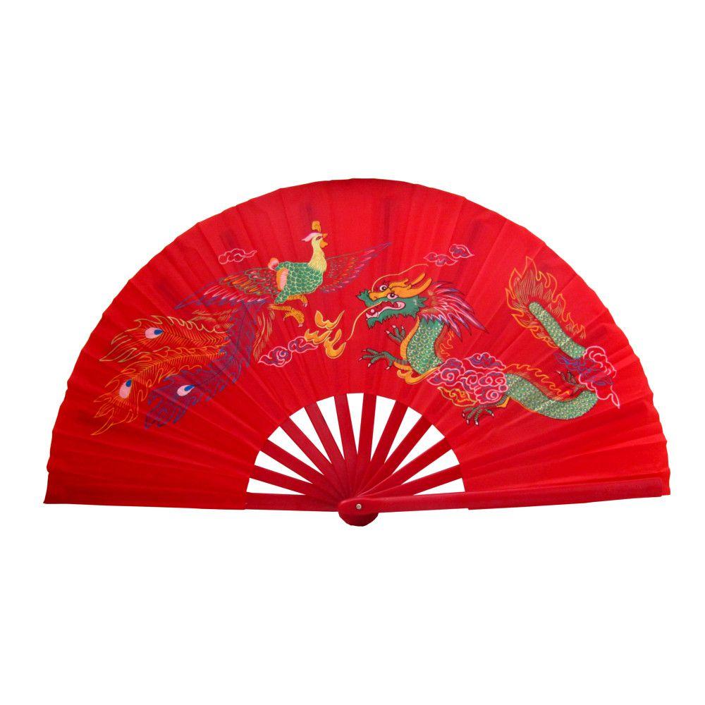 Leque Oriental com Desenho de Dragão e Fênix - Vermelho