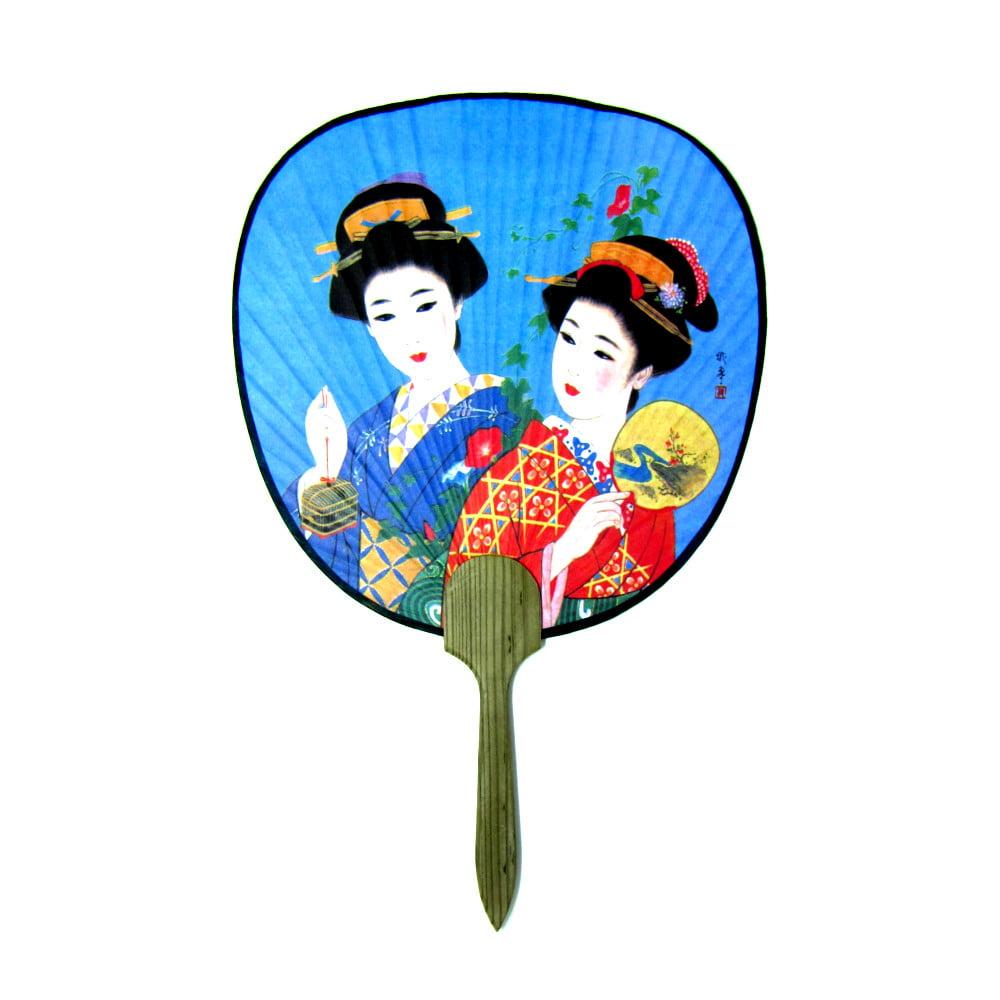 Leque Oriental Tradicional Papel Gueixa 2 Ventarola 23cm x 36cm  - Azul