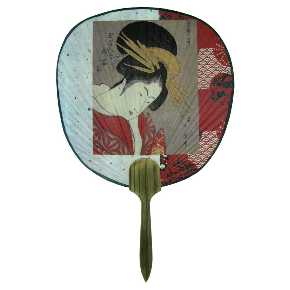 Leque Oriental Tradicional Papel Gueixa  Ventarola 23cm x 36cm  - Vermelho
