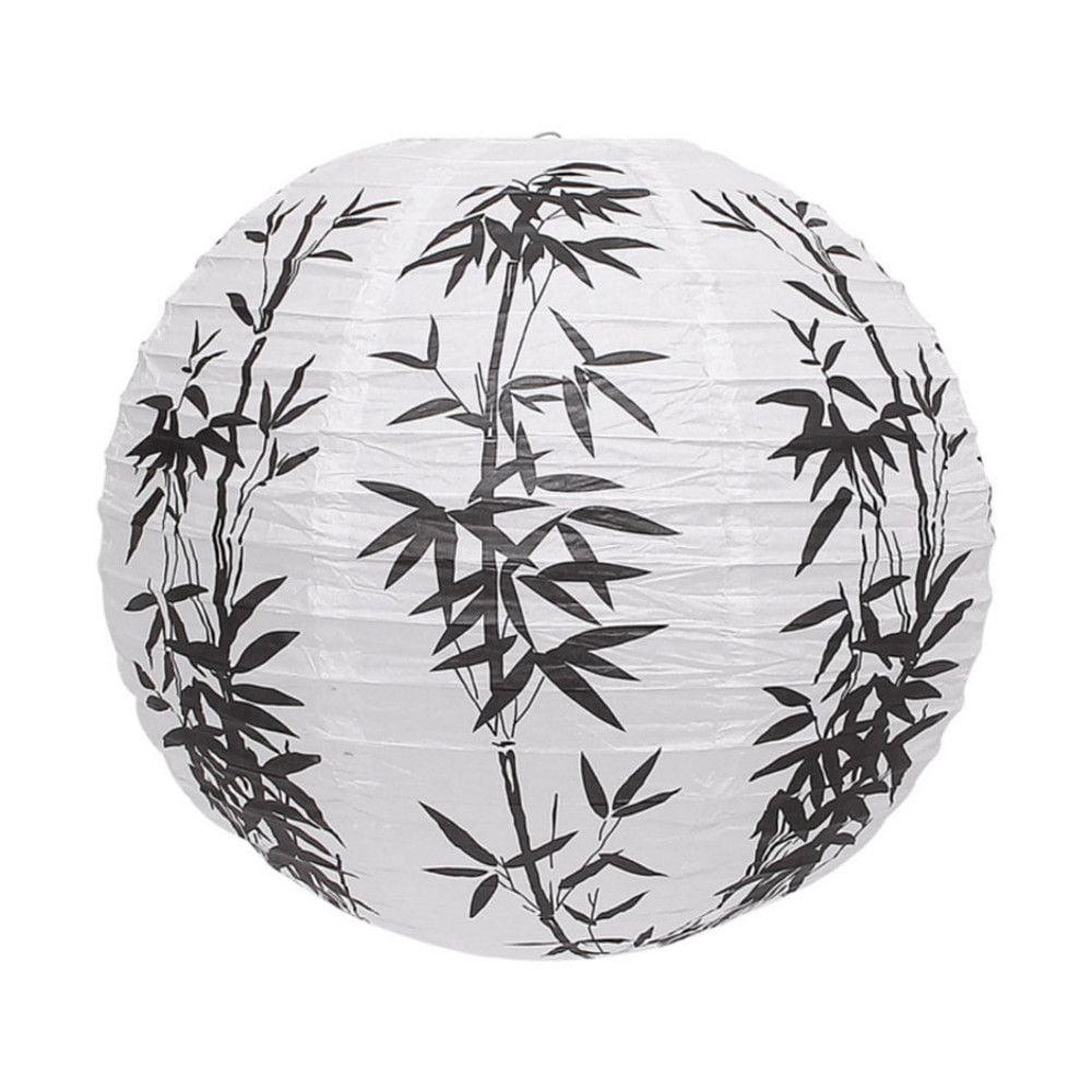 Luminária Oriental Branca Bambu - 40 cm