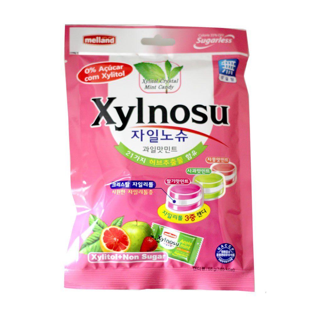 Bala Diet Sabor Frutas e Menta Xylnosu Fruit Mint - 68 gramas