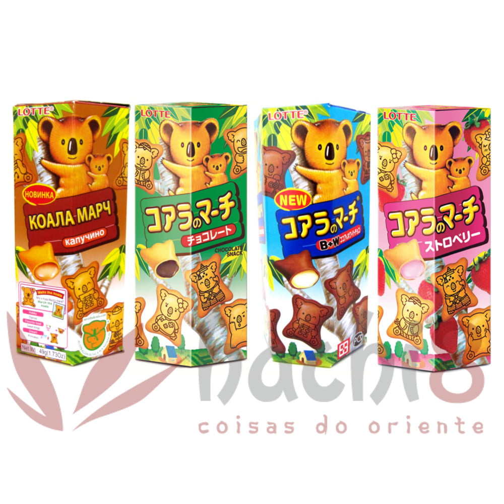 Kit Biscoitos Koala Doces Japoneses Importado Lotte - 4 Sabores