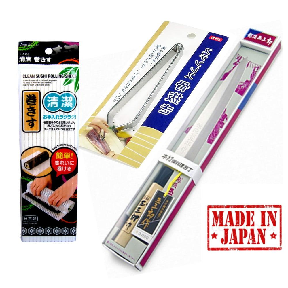 Kit Sushiman Japonês Faca Esteira Pinça  - 3 Utensílios
