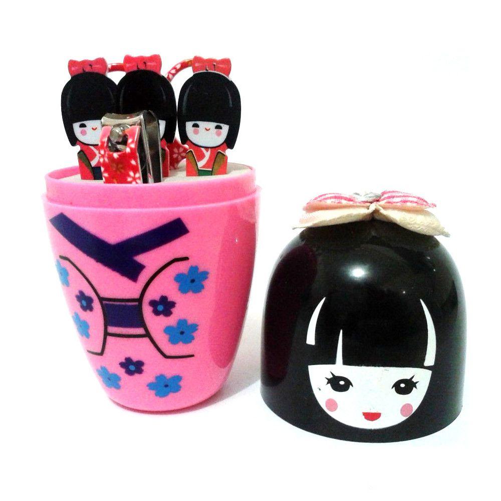 Kit para Manicure Kokeshi com 5 Peças - Rosa