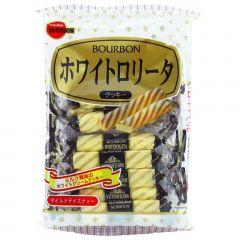 Biscoito Japones White Rollita Amanteigado com Cobertura de Chocolate Branco Bourbon – 100 gramas