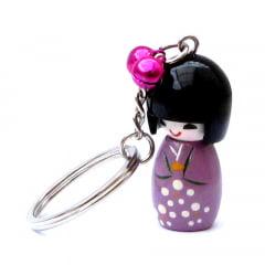 Chaveiro da boneca Japonesa Kokeshi - Lilás