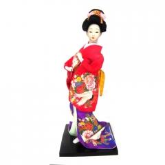 Boneca Japonesa Gueixa Artesanal com Kimono Colorido e Leque Arredondado
